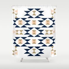 Jacs - Modern pattern design in aztec themed pattern navajo print textile cute trendy girl Shower Curtain
