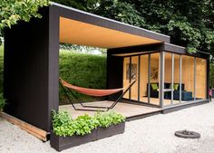 Wonderful Modern Prefab Studio Shed Design With Relax Space Ideas . Inspiring Prefab Studio Shed Design For You Backyard Office, Backyard Studio, Cozy Backyard, Backyard Storage, Outdoor Office, Outdoor Storage, Backyard House, Prefab Pool House, Backyard Slide