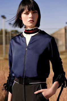 Black & Blue Satin Bomber Jacket, White Scalloped Frill Knit, Black & Blue Skinny Pant