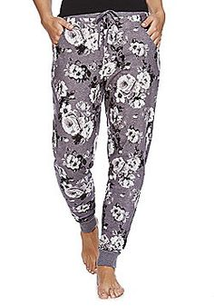 F&F Rose Print Brushed Lounge Pants - Grey