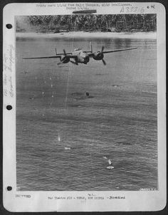 "A B-25 Mitchell from the 405th Bomb Squadron ""Green  Dragons"", 38th Bomb Group, 5th Air Force doing some low-level  'skip' bombing. The bombers would come in over a target low and fast,  dropping their bombs with delay fuses a distance from the target and  it would skip across the water into the side of the ship."