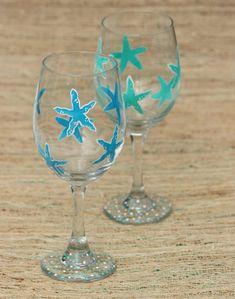 Painted Starfish Wine Glass / Beach Wine Glass / Beach Housewarming Gift / Teal Blue and Peach Starfish / Beach Wedding Gift  #beachwedding #starfish #paintedwineglass
