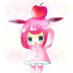 animal ears apple bunny ears chibi food fruit kano redbell personification pink hair pokemon solo wigglytuff