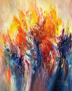 """Modern art by Peter Nottrott: painting: Eruption M 1  Abstract acrylic painting on canvas 39.4 """"h x 31.5 """"w x 1.5 """"d  blue, red, orange, yellow"""