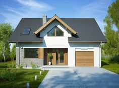 DOM.PL™ - Projekt domu FA Telimena CE - DOM GC6-29 - gotowy koszt budowy Village House Design, Village Houses, Modern Bungalow House, Modern Architecture House, Design Case, Traditional House, My House, Building A House, House Plans