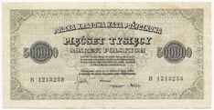 500000 MAREK POLSKICH 1923 Polen Vintage World Maps, Reusable Tote Bags, Coins, Money