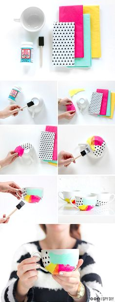 """Brighten up a white mug using tissue paper and dishwasher-safe <a href=""""http://www.amazon.com/gp/product/B00J2TJF6A/ref=as_li_qf_sp_asin_il_tl?ie=UTF8&camp=1789&creative=9325&creativeASIN=B00J2TJF6A&linkCode=as2&tag=isd03-20&linkId=IRUVACXZ3HXWJVCH"""" target=""""_blank"""">Mod Podge</a>."""