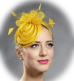 Yellow lovely small fascinator hat-New design in my shop by MargeIilane on Etsy Facinator Hats, Fascinators, Headpieces, Yellow Fascinator, Fascinator Diy, Kente Dress, Fascinator Hairstyles, Cocktail Hat, Church Hats