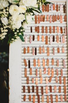 copper seating tags / escort cards for weddings