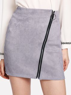 Suede Zip Up Front Skirt -SheIn(Sheinside)
