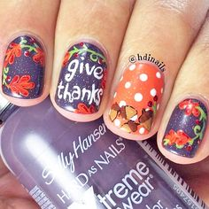 32 Inspiring Thanksgiving Nail Art Design Ideas - Nail designs or nail art is a basic idea design or art that is utilized to enhance the finger or toenails. They are utilized predominately to upgrade . Thanksgiving Nail Designs, Thanksgiving Nails, Love Nails, Fun Nails, Pretty Nails, Happy Nails, Easy Nail Art, Cool Nail Art, November Nails