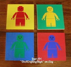 This is a set of 4 Lego men cut form vinyl and put on painted wood. Each piece of wood measures 8X8. Each piece is ready hang with a sawtooth