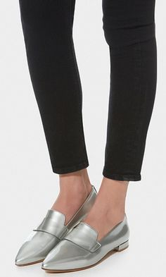Silver Loafers #loafers #shoes #flats