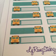 School Bus Sticker Strips for the Classic sized Passion Planners by LyRainzStickrzNStuff on Etsy