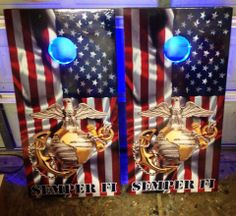 Marine Cornhole Boards with blue lights.  Search my Page on Facebook. https://www.facebook.com/jakescustomcornhole