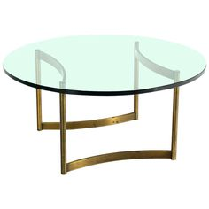 Brass & Round Glass Base Coffee Table by Mastercraft Mid Century Modern | From a unique collection of antique and modern coffee and cocktail tables at http://www.1stdibs.com/furniture/tables/coffee-tables-cocktail-tables/
