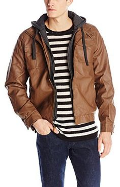 $36, Brown Leather Bomber Jacket: Sportier Faux Leather Insulated Jacket With Fleece Hood Inset. Sold by Amazon.com. Click for more info: http://lookastic.com/men/shop_items/188735/redirect