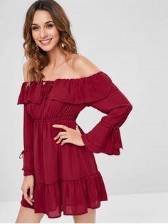 925b9d5f94e  36% OFF  2019 Off The Shoulder Chiffon Mini Dress In RED WINE S