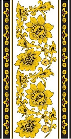 Folk Khokhloma painting from Russia. A floral pattern in black and golden colours. Hungarian Embroidery, Folk Embroidery, Embroidery Patterns, Russian Folk Art, Russian Painting, Deco Floral, Mellow Yellow, Colouring Pages, Vintage Flowers