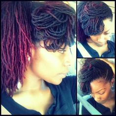 Image from Lovingly and Naturally Designed's Facebook page. Styled deep magenta ombre locs. Beautiful.