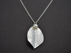 20 off SALE  Leaf and pearl necklace. by LilliDolli on Etsy, $21.00
