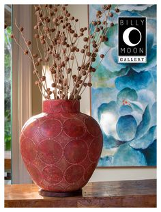 Circle Grid Vase. Terracotta vase. Hand applied raised circle pattern. Hand painted two tone finish. Wood base. A1360
