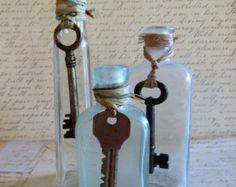 Old Vintage Glass Bottles With Skeleton Keys