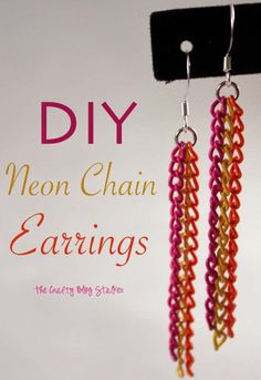 DIY Earrings and Homemade Jewelry Projects - Neon Chain Earrings - Easy Studs, Ideas with Beads, Dangle Earring Tutorials, Wire, Feather, Simple Boho, Handmade Earring Cuff, Hoops and Cute Ideas for Teens and Adults http://diyprojectsforteens.com/diy-earrings