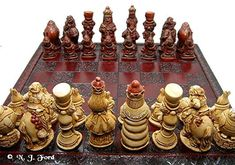 Alice In Wonderland Chess Set/ Pieces Board by ChessMouldsAndMore, £60.00