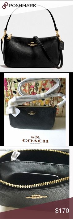 """COACH BLACK PURSE IN PEBBLE LEATHER/NWT COACH BLACK PURSE IN PEBBLE LEATHER/NWT. This soft purse is a perfect size for your daily needs!  2 ways to wear/use this purse▶️The handle has a 6"""" drop(not removable)and it also can be used with a removable long strap 21 1/2"""" for shoulder wear. The strap is adjustable. Inside multifunction pocket, zip top closure and fabric lining.◀️Colors:  Black and gold▶️Bundle 2 or more to save 💰 Coach Bags Shoulder Bags"""