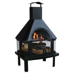 Features:  -Black finish.  -Made of steel.  -Portable.  Product Type: -Outdoor fireplace.  Finish: -Black.  Base Material: -Steel.  Pit Material: -Steel.  Hardware Material: -Steel.  Fuel Type: -Wood.