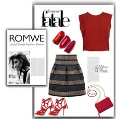 ROMWE skirt by riborn on Polyvore featuring moda, Alice + Olivia, Paul Andrew, TravelSmith and Oris