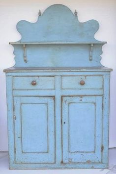 Early Blue Paint Decorated Cupboard