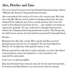 I wrote this on my own theory of how Fletcher saved Zain from poisoning.