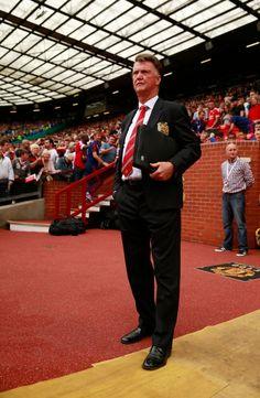 Louis van Gaal in the Old Trafford dugout.