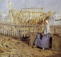 Henry Herbert La Thangue: A French Boat Building Yard La Thangue. Oil painting. 1881. 30x32 inches.