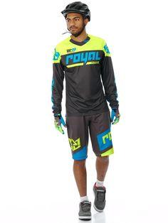 Royal Racing Cyan-Charcoal-Yellow 2017 Victory Race MTB Shorts | eBay
