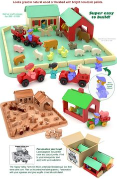 Farm Set: Scroll Saw Wood Toy Plan Set. Look at barn Woodworking Skills, Learn Woodworking, Woodworking Plans, Woodworking Projects, Youtube Woodworking, Workbench Plans, Woodworking Workbench, Woodworking Workshop, Happy Valley