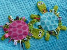 Yertle the Turtle- BLUE or PINK -Crinkle Crackle Sensory toy. $20.00, via Etsy.