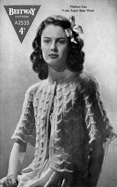 Vintage Ladies Bed Jacket, Knitting Pattern, 1940/1950 (PDF) Pattern, Bestway 2535 by LittleJohn2003 on Etsy