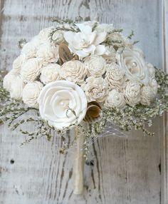 Handmade Alternative Wedding Bouquet by The SunnyBee #etsyweddings  https://www.etsy.com/listing/101101574/soft-white-wildflower-handmade-custom