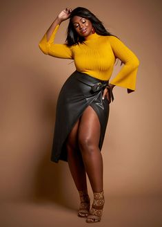 Plus Size Outfits - Split Sleeve Turtleneck with Faux Leather Wrap Skirt Trendy Dresses, Plus Size Dresses, Plus Size Outfits, Chic Outfits, Dress Outfits, Fashion Outfits, Women's Fashion, Trendy Plus Size Clothing, Plus Size Fashion