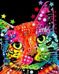 Rainbow cat pop art color