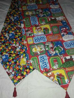 M&M Holiday Themed Reversible Table Runner 72x14 Handmade and Padded