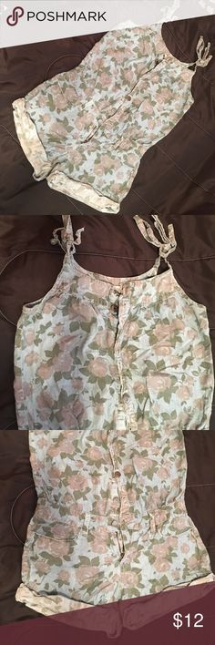 Floral daisy duke romper Super cute floral romper! Great for summer time fun. Sleeves tie up to fit ur shoulder how you want. Very cute with chuck Taylor sneakers or some cute sandals! Other