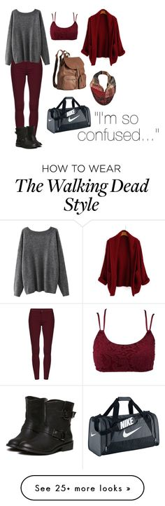 """""""The Walking Dead ↓↓↓↓↓"""" by walkingdeadlove on Polyvore featuring Charlotte Russe, H&M, NIKE and Black Rivet"""