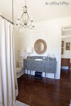 Sideboard Sink Vanity | Bathroom | Old House | Oval Mirror