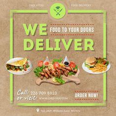 Restaurant Advertising, Restaurant Poster, Food Advertising, Menu Card Design, Food Menu Design, Home Food Delivery Service, Delivery Food, Food Service, Food Business Ideas
