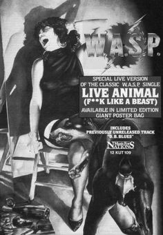 0-Rare-WASP-W-A-S-P-Live-Animal-CD-A4-magazine-advert-Poster-0