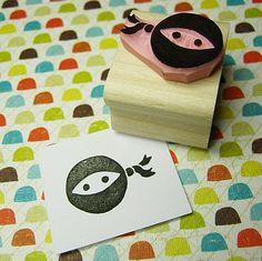 Ninja Hand Carved Rubber Stamp